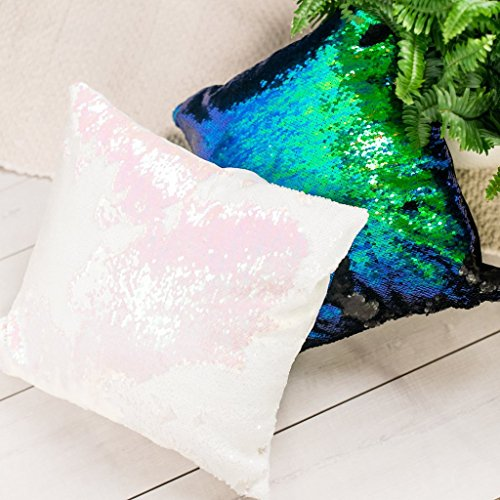 16x16 Mermaid Pillow with Insert Sparkling Iridescent Pink with Flip Sequin Throw Pillow Mermaid Magic Glitter Reversible Color Changing Decorative Pillow Shams Dorm Room Decor for Sofa Comfy