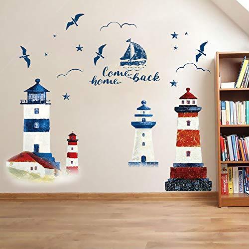 YZNlife Wandsticker Leuchtturm Wandtattoo, Wandaufkleber Wall Sticker Sea Wall Aufkleber, Lighthouse Segelboot Tapetensticker Wall Tattoo, für Junge Mädchen Kinderzimmer Schlafzimmer Deko Blau …