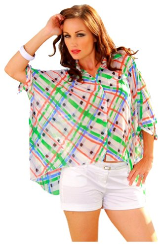 SurelyMine Women's Audrey Ann Plaid High Low Hem Blouse Large Multi