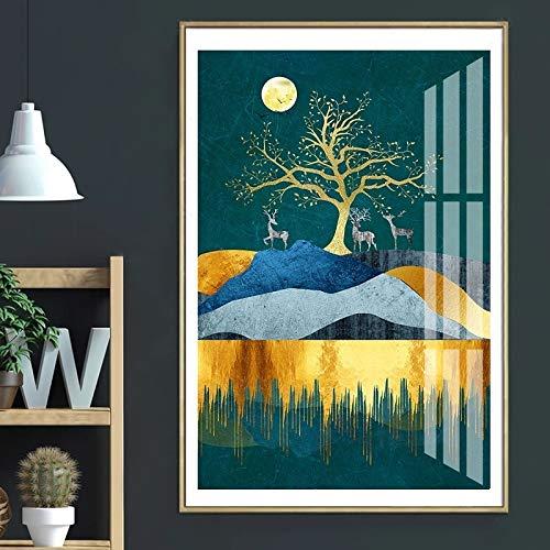 ganlanshu Rahmenlose Malerei Nordischer Mondbaum und Hirsch Leinwand Malerei Landschaft Poster Wanddekoration Malerei Wohnzimmer Schlafzimmer KorridorZGQ2611 50X70cm