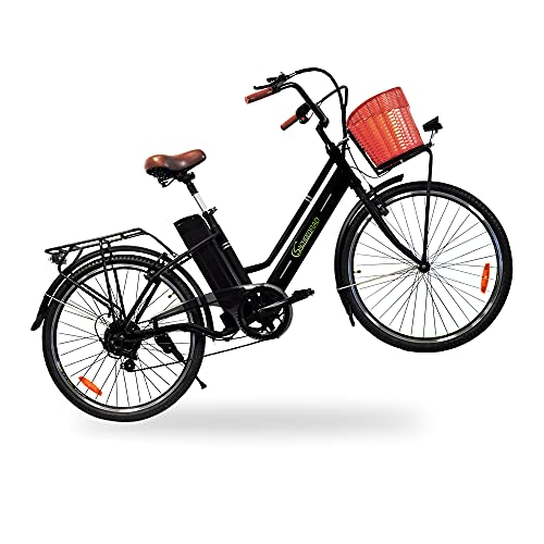 SachsenRad E-Bike C1 Vintage | 26 Inch 250 W Motor 36 V / 10 Ah Lith. 50-80 km Range | 6-Speed Gear Shift, Rear Stand, V-Brake, LED Display, Kenda Tyres, StVZO Certified | Black