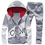 Manluo Boys Active Tracksuits Hoodies Jogging Suits Sports Casual Slim Fit Tracking Suits Letter Print