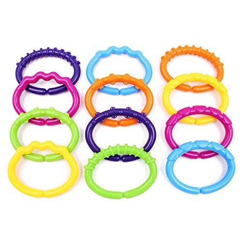 GerTong Baby Koppelbare Tandjes Speelgoed, Regenboog Plastic Baby Links Ringen Rammelaar voor Baby Kinderwagens Auto Seat Ringen Speelgoed- BPA gratis, Pack van 12