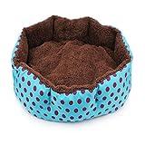 Bledyi Cama para Perros diseño de Lunares, Forma Ovalada, Suave, Lavable, cómoda para Gatos pequeños, medianos, Camas para Mascotas, 38 x 32 x 10 cm