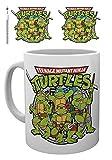 1art1 - Tazza da caffè con foto retrò con tartarughe Ninja, 8,1 x 9,7 cm e 1 adesivo a sorpresa