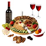 Unique Bamboo Cheese Board, Charcuterie Platter & Serving Tray for Wine, Crackers, Brie and Meat. Large & Thick Wooden Server - Fancy House Warming Gift & Perfect Choice for Gourmets