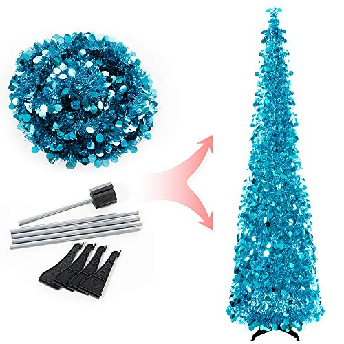 Joy-Leo 6 Feet Blue Sequin Pop Up Tinsel Christmas Tree, Easy to Assemble and Store, for Small Spaces Apartment Fireplace Party Home Office Store Classroom Xmas Decorations