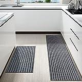 Color&Geometry Juego de Alfombrillas de Cocina Antideslizantes de 2 Piezas, alfombras de Barrera con Respaldo de Goma, Alfombra Absorbente y Lavable para Cocina (44x75cm + 44x150cm, Gris)