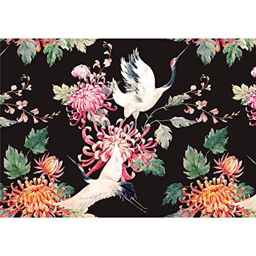 decomonkey Fototapete Blumen Japan Asien Orient 400x280 cm XXL Design Tapete Fototapeten Vlies Tapeten Vliestapete Wandtapete moderne Wand Schlafzimmer Wohnzimmer Vogel