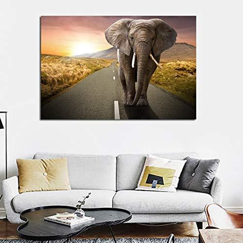 ganlanshu HD Ölgemälde Leinwand Elefant Wohnzimmer dekorative Malerei Poster Bild Leinwand Wanddekoration rahmenlose Malerei 60cmX90cm