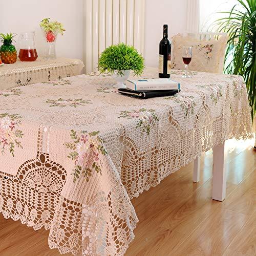 DULPLAY 100% Hecho A Mano Crochet Manteles,Elegante Europeo Rústico Floral Decoración De La Mesa,Sabana De Algodon Ahuecar-Beige 130x180cm(51x71inch)