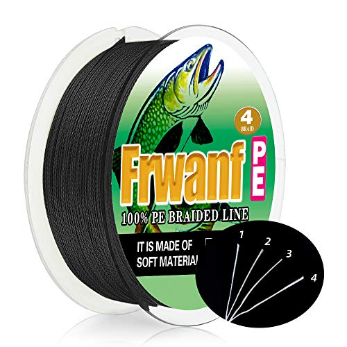 Frwanf ライン 釣り糸 X4 150m 単色 マルチカラー 4本編み【0.4号~7号 各号選択可】4編 ブラック
