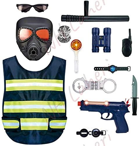 NH Laheri 14 Pcs Police Uniform Costume with Light Sound Gun Set Including Handcuffs, Binoculars Batch, Pistol Toy, Whistle, Eye Glasses, Dagger Police Set Toys for Boys and Girls