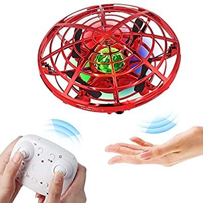 BIBIELF Flying Drone for Kids, Hands Drone Remote Control Flying Toys with Colorful LED Lights for Boys Girls - Red from Bibielf