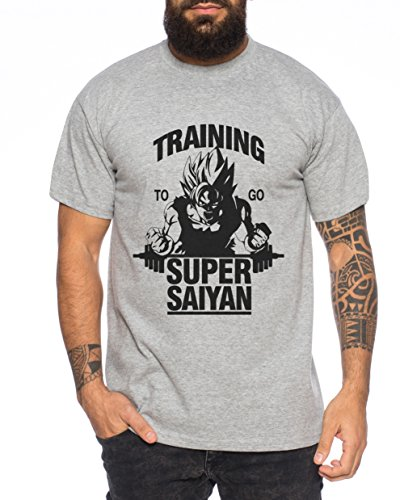 Goku Super Saiyajin T-Shirt Nerd in Diversi Colori, Farbe2:Dunkelgrau Meliert;Größe2:Small