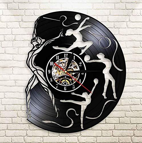 XZXMINGY Reloj de Vinilo Navidad Gimnasia Deportes Reloj de Pared de Vinilo 3D Gimnasia rítmica Cinta de grogrén Cool Girl Room Decoración Interior 30cm