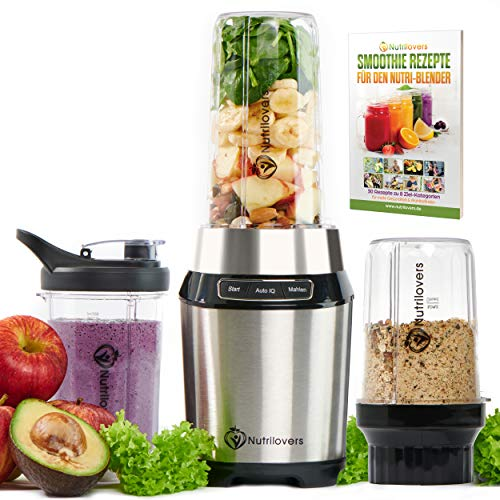 Nutri-BLENDER Mix & Go Blender [1000W] Smoothie Maker, Stainless Steel 30,000 RPM Personal Blender NutriBullet Mini Mixer with Auto-IQ | 100% BPA Free - Dishwasher Safe Parts Includes Recipe Book