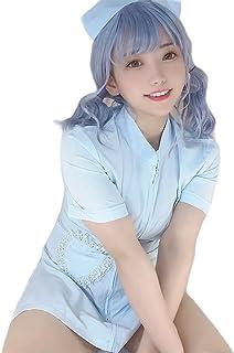 SENMHSセクシー ナース服 コスプレ コスプレ制服 ナース服セクシーランジェリー 看護婦 コスチューム 2点セット スカート ナースキャップ(ナース ブルー)