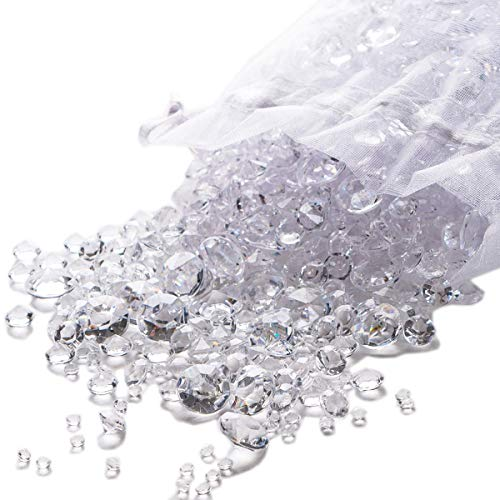 Pretty Display Luxury Clear Diamond Party & Wedding Decorations for Reception Tables: Over 3,000 Sparkling Acrylic Table Confetti Scatter Gems in Three Sizes