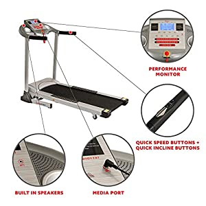 Sunny Health & Fitness Electric Folding Treadmill with Auto Incline, LCD and Pulse Monitor, Speakers, Shock Absorb, 285 LB Max Weight and Body Fat Calculator - SF-T7873,Gray
