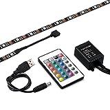 kwmobile rubans rétroéclairage pour TV - Bandes LED RGB 2x100cm en noir, bandes...