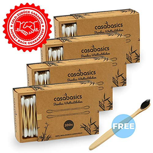 800 Bastoncillos de Algodón en Bambú + 1 Cepillo de Dientes de Bambú GRATIS | 100% Biodegradable, Vegano, Reciclable y Respetuoso del medio ambiente | NO PLÁSTICO
