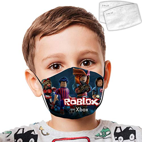 VIPODER Ro-b-lox Kids Reusable Adjustable Face Anti Dust Cute Protective Facial Decorations with 2 Filters for Boys and Girls