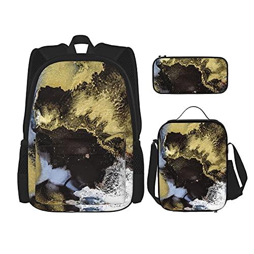 Juego de mochila de mármol negro de 3 piezas para adolescentes y niñas, mochila de mensajero para el almuerzo