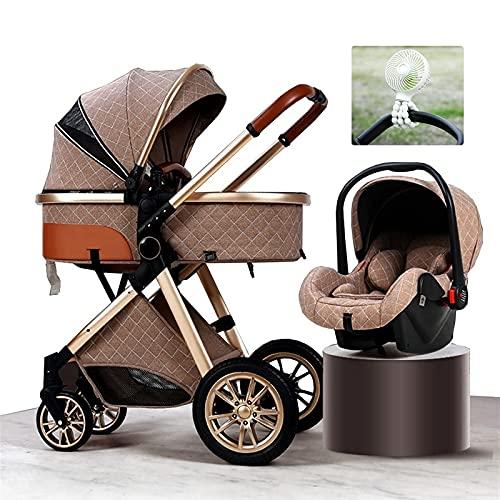 Ventiladores de refrigeración para cochecito de bebé, lujoso 3 en 1 cochecito de bebé bolsa de viaje cochecito para bebés y niños pequeños organizadores de carritos plegables con portavasos, silla de