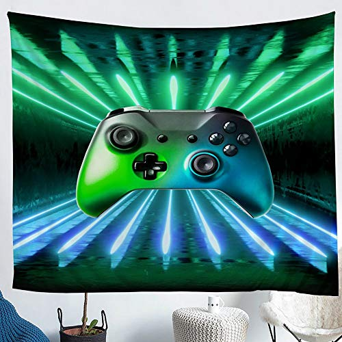 Erosebridal Green Blue Gamepad Tapestry, Game Player Wall Hanging Modern Gamer Gaming Wall Tapestry Neon Trippy Wall Blanket for Kids Boys Girls Teens Young Man Room Decorative XLarge