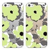 mobee iPhone5s iPhone5 ケース カバー 花柄 (F)Bigフラワー ハードケース (クリア)グリーン 【オリジナルデザイン】