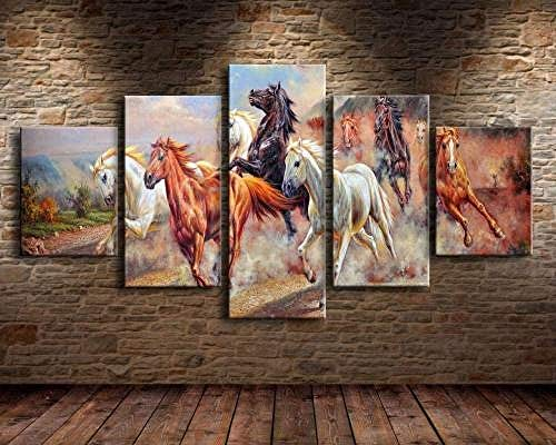 ADGUH 5 Cuadro sobre Lienzo HD Poster Print on Canvas Picture Wall Artist Home Decoration 5 Pieces Painting Living Room Igloo Christmas Night Tree5 Impresiones sobre Lienzo
