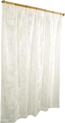 アーリエ(Arie) レースカーテン 2枚組 リーフ柄 洗える ミラーレース Lレックス アイボリー 幅100cm×丈133cm 547546