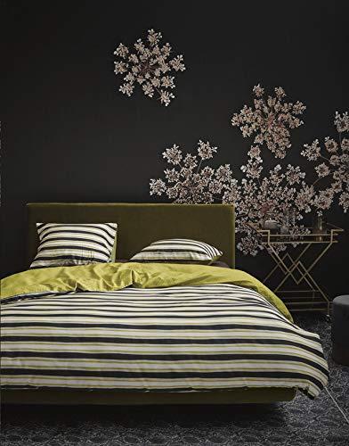 Essenza beddengoed dekbedovertrek 200 x 200/220 cm + 2 kussenslopen 60 x 70 cm Lyra mosterdgeel - collectie dekbedovertrek met dubbel klapdeksel