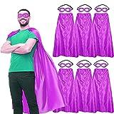 Superhero-Capes and Masks for Adults Bulk, Men Women Super Hero Halloween Dress Up Party Favors Costume, 7 Pack (Purple)