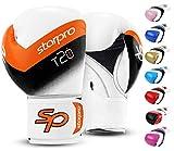 Starpro Guantes de boxeo T20, piel sintética, color negro, blanco, rosa y azul, para entrenamiento y sparring en Muay Thai, Kickboxing, fitness y boxeo, hombres y mujeres, 8 oz, 10 oz, 14 oz y 16 oz