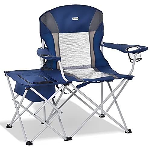 Outsunny Folding Camping Chair with Storage Side Table, Double Cup Holders, Portable Insulation Bag, Outdoor Director Chair for Picnic Travel Fishing Beach, Navy Blue