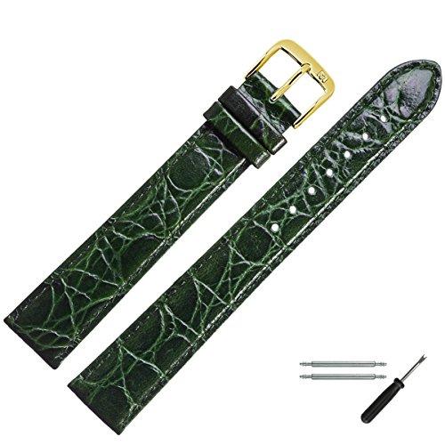 MARBURGER Uhrenarmband 20mm Leder Grün Kroko XL - Werkzeug Montage Set 6812060000220