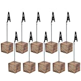 Cosmos 10 Pcs Lightweight Cube Base Memo Clips Holder with Alligator Clip Clasp for Displaying Number Cards (Wooden Base)