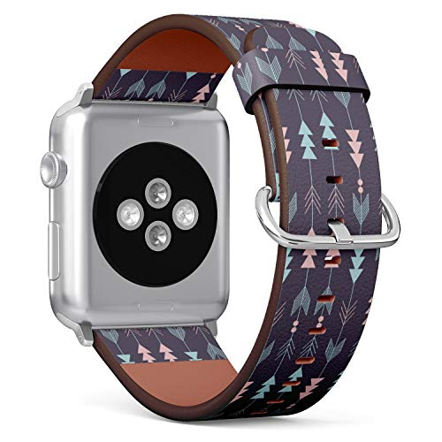 (Boho Arrow Pattern) Patterned Leather Wristband Strap for Apple Watch Series 4/3/2/1 gen,Replacement for iWatch 38mm / 40mm Bands
