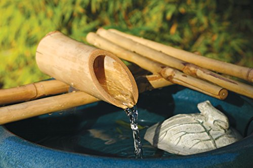 """Bamboo Accents Low-Profile Water Fountain for Garden, Indoor/Outdoor Fountain, 12"""" Wide Five-Arm Style Base, Smooth Split Resistant Bamboo for a DIY Zen Fountain"""