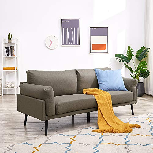 Vonanda Modern Sofa Couch,Breathable Linen Fabric 74 inch 3-Seater Sofa with Durable Metal Legs and Comfort Armrest for Compact Living Room or Apartment, Light Brown