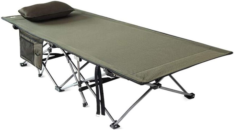 Klappern Camping Bett Outdoor Einzelcamping Bett Folding Tragbare Licht Camping Bett, Hochwertige Kunststoff-Teile, Hochfeste Stahlrohr, 191  71 cm,Grün