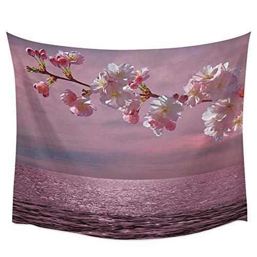 AdoDecor Cherry Lake Lake Textura Rama Cerezo Superficie del Agua Tapiz de Pared Rosa Cubierta Toalla de Playa Picnic Estera de Yoga Decoración del hogar 150x110cm