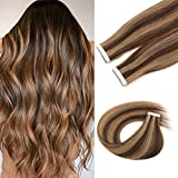 Sixstarhair 50g 20 Tape In Hair Extensions Grade 9A Tape In Human Hair Extensions with Highlights Silky Straight and Premium Remy Hair with Double Sided Tapes P4-27# 18inch