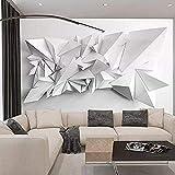Papel tapiz Papel tapiz-Simple Moderno Superfuerte 3D Visual Blanco y negro Origami Papel tapiz Restaurante papel pintado pared dormitorio de estar sala de estar fondo No tejido-400cm×280cm