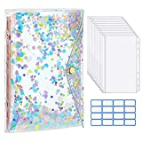 MoKo A6 Budget Binder Notebook, Glittering Quicksand Shell Brief Case Binder Cover, Clear PVC Looseleaf Folder with 12 Zippered Pockets, 12 Blank Papers, 16 Sticky Labels for School Office, Multicolor