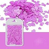 Arte del día de San Valentín Glitter Neon Holográfico Lentejuelas Corazón Forma 3D Escamas rebanadas Polaco Manicura Lentejuelas Accesorios-DXAX-11