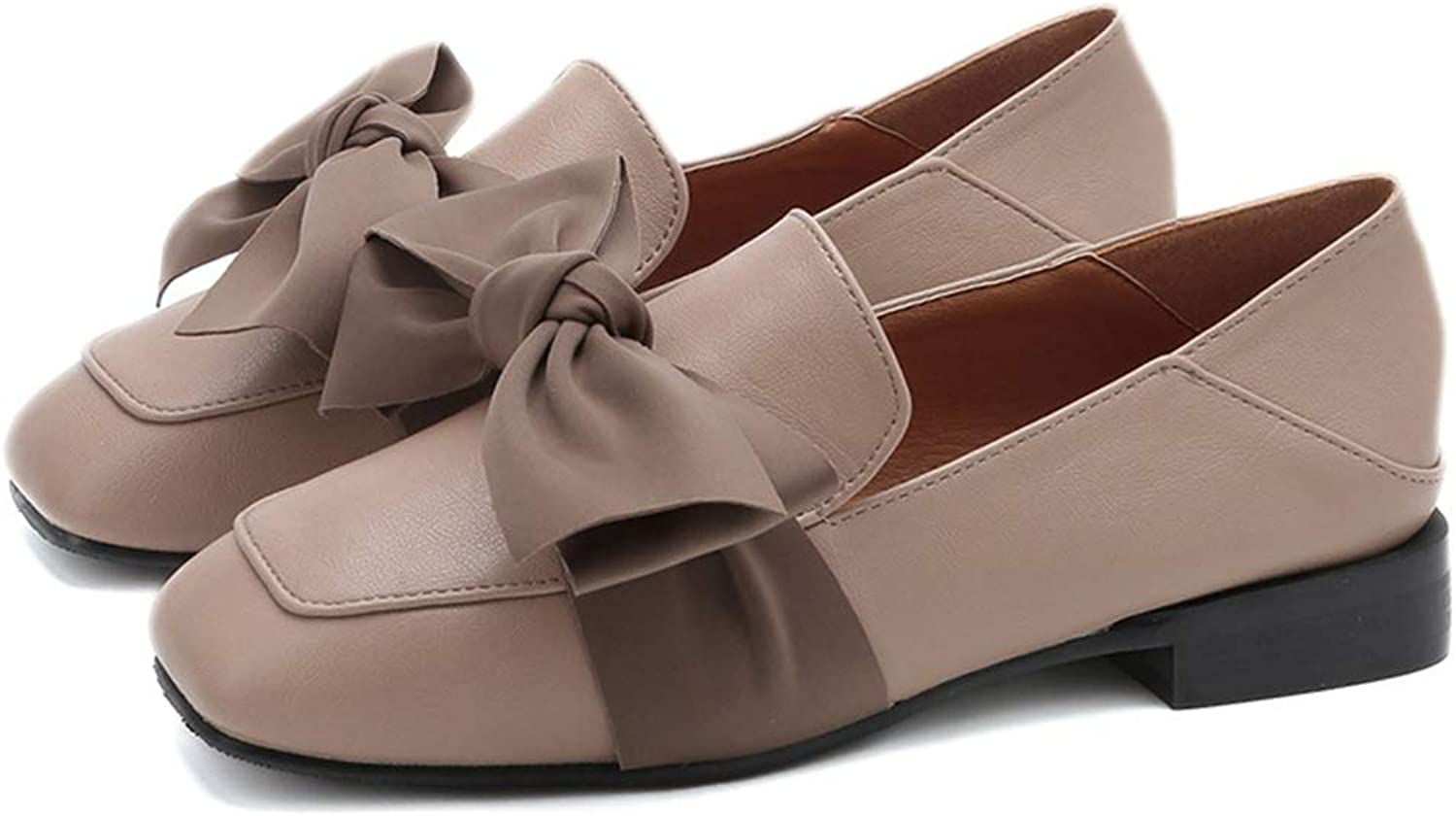 GIY Women Casual Low Heel Loafers Bowknot Lightweight Comfortable Square Toe Slip On Oxford shoes