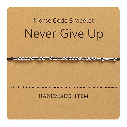 MRSXXNTY Morse Code Bracelet Jewelry Gift for Her Beads on Silk Cord Inspirational Gifts for Her
